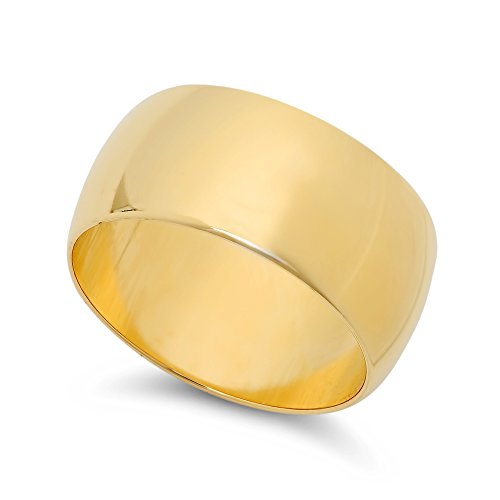 14k Yellow Gold Heavy Plated 10mm Wide Smooth Domed Wedding Band Ring, Size 5 + Jewelry Polishing Cloth (14k Gold Wide Band Ring)