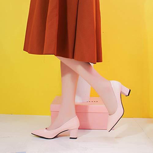 Lady Casuale Tacco Blocco on Serpente 35 Ufficio Classico A Sexy Rosa 40 Donna Dragon868 Elegante Punta Scarpe Slip qw47w6zx