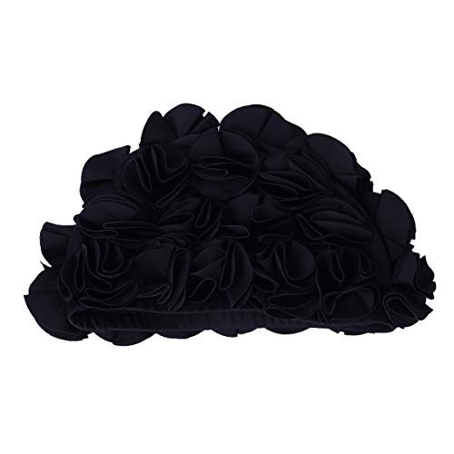 (Newest trent Women Flower Petal Swim Caps Vintage Swimwear Retro Bathing Cap Long Hair Swimming Hat Black)