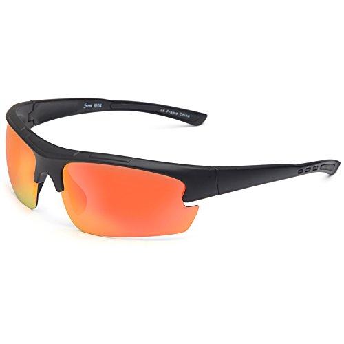 Siren Polarized Sports Sunglasses with TR90 Unbreakable Frame and Case - Mirror Orange Lens on Black - Sunglasses Orange Men