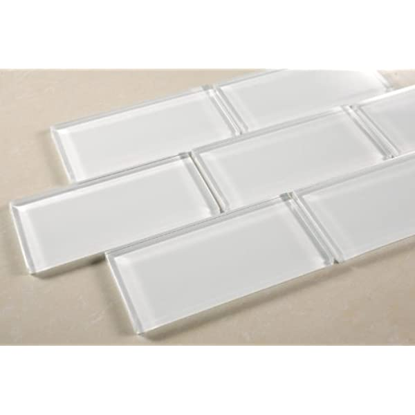 Shell White 3 X6 White Glass Mosaic Tile Bathroom Or Kitchen Backsplash Mosaic Tile Amazon Com