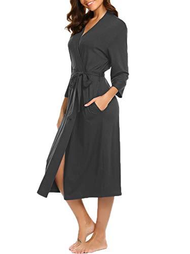- BLUETIME Women's Kimono Robes Cotton Lightweight Robe Long Knit Bathrobe Soft Sleepwear V-Neck Ladies Nightwear (XXL, Dark Gray)