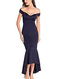 YACUN Women's Maroon Off-shoulder Mermaid Jersey Evening Dress