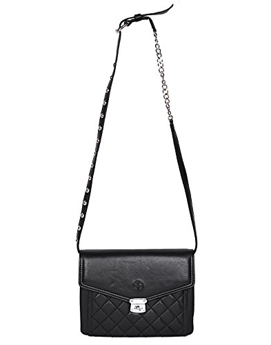 Jl Collections Women #39;s Leather Black Sling Bag