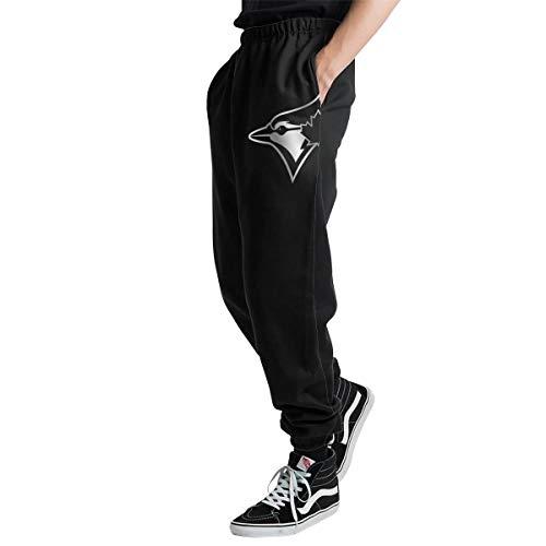Toronto Bl-ue JaysPlatinum Logo Men's Casual Jogger Sweatpants Sports Trousers Pant Elastic Waist XXL ()