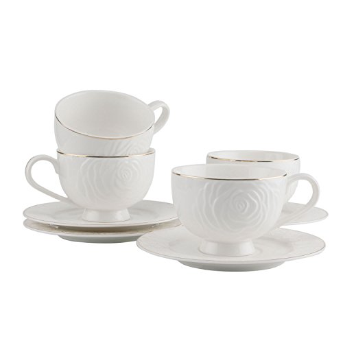 Porcelain Cappuccino Cups and Saucers Set - 7.5 Ounce, White Rose Embossment Demitasse Cups with Saucers for Tea/Coffee/Latte/Mocha Golden Edge, Set of 4 (White) -