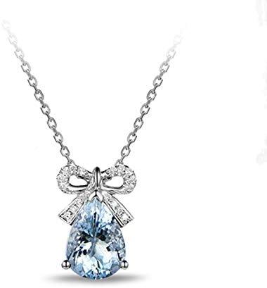 MXWY Collar para Hombre Y Mujer Joyería Aguamarina Circón Platino Platino Colgante De Arco Piedra Preciosa Clavícula Accesorios De Cadena Regalos para Parejas