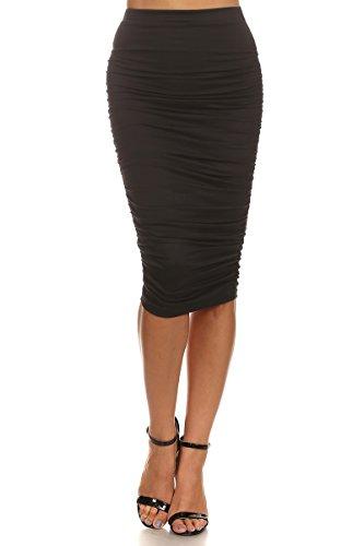 MeshMe Womens Diana - Ruched High Waist Midi Pencil Skirt