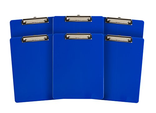 6 Pack Dark Blue Plastic Clipboard, Low Profile Clip, Clipboards for classrooms, Offices, Restaurants, Doctor Offices, 6 Plastic Clipboard Pack