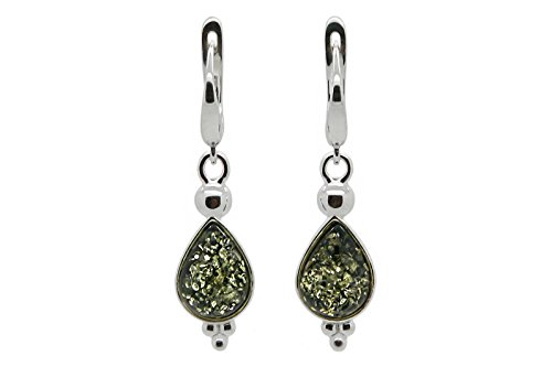 925 Sterling Silver Drop Leverback Dangle Earrings Genuine Natural Baltic Green Amber. ()