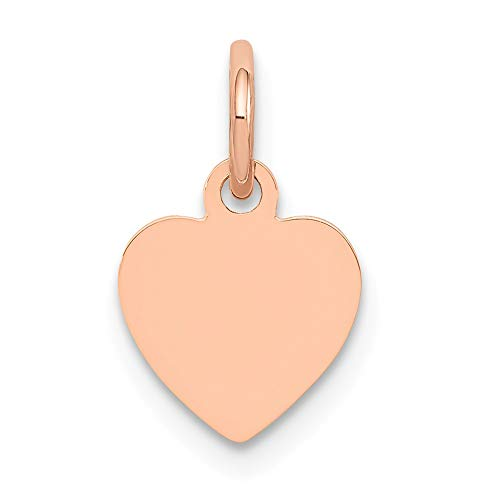 (14K Rose Gold Heart Disc Charm 14x9mm )