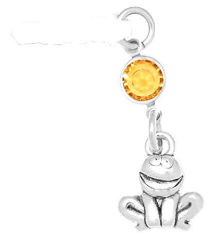 Crystal Charm November - Clayvision Happy Mouth Frog Toad Phone Charm with Topaz Colored Crystal November White Plug