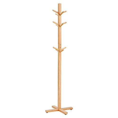 LANGRIA Coat Hook Bamboo Wooden Coat Rack and Hook Rack with 3 Tiers 12 Hooks and Solid Feet Hall Tree Coat Rack for Clothes Scarves and Hats, Bamboo Natural Color (Bamboo Branch)