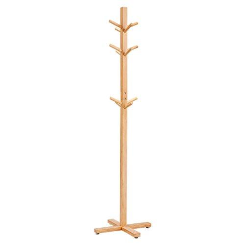 LANGRIA Coat Hook Bamboo Wooden Coat Rack Hook Rack 3 Tiers 12 Hooks Solid Feet Hall Tree Coat Rack Clothes Scarves Hats, Bamboo Natural (Freestanding Solid Wood)