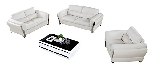 3 Piece Sofa Collection (American Eagle Furniture Chelsea Collection Modern Living Room Leather Upholstered 3 Piece Sofa Set With Tufted Waist, White)