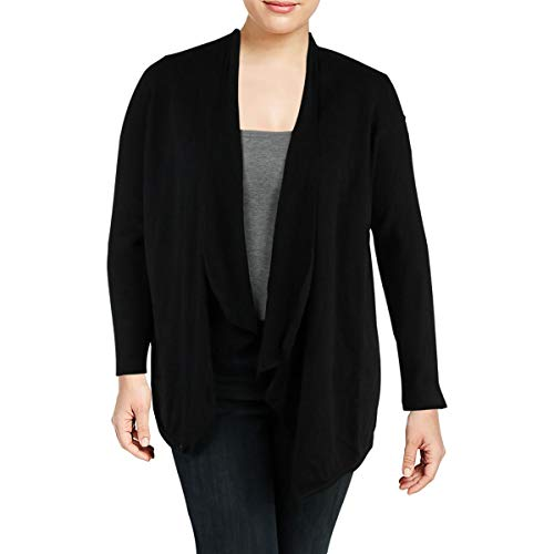 Klein Calvin Ribbed Cardigan (Calvin Klein Performance Womens Ribbed Knit Open Front Cardigan Sweater Black L)