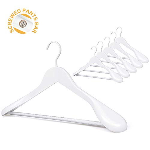 TOPIA HANGER Set of 6 White Luxury Wooden Coat Hangers, Wood Suit Hangers,Glossy Finish with Extra-Wide Shoulder, Thicker Chrome Hooks & Anti-Slip Bar ()