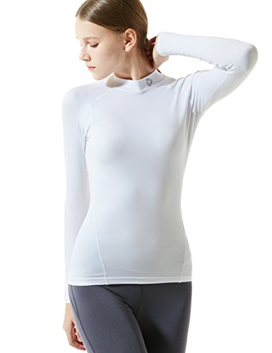 TM-WT32-WHT_Small Tesla Women's Thermal Coldgear Compression Baselayer Mock Long Sleeve (Womens Long Sleeve Thermal)