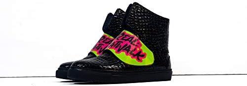 Sneek x Dr Axes XX - Handmade Italiennes Cuir pour des Hommes Couleur Noir Chaussures Décontractées Sneakers - Cuir de Vachette Cuir Verni - Lacer