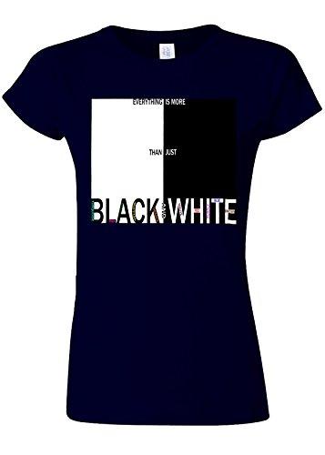 グレード委員会数値It`s More Than Just Black And White Novelty Navy Women T Shirt Top-XL