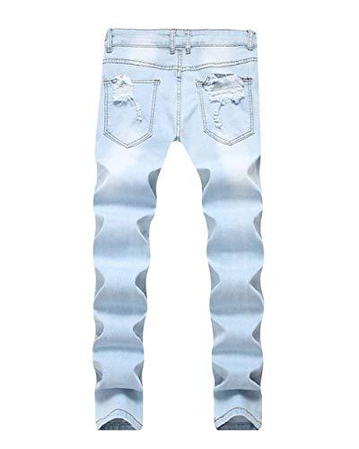 Pantaloni Cher Destroy Ricamati Fit Aspicture Ripped Da Slim Uomo Estilo Biker Jeans Holes Motociclista Especial xwfaPYqRq
