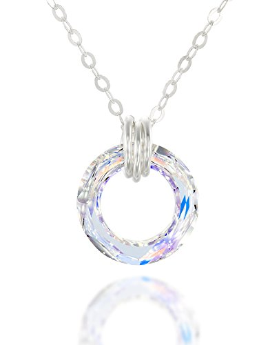 Circle AB Crystal Ring Pendant Made with Original Swarovski 925 Sterling Silver Necklace, 18