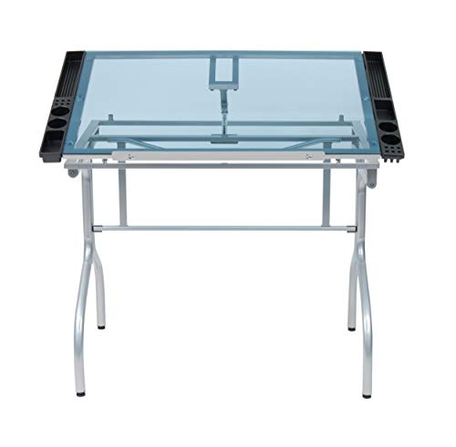 Studio Designs Folding Metal and Glass Modern Hobby, Craft, Drawing, Drafting Table, Desk with 40.75 W x 23.75 D Angle Adjustable Top in Silver Blue Glass