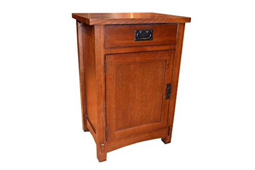 Solid Oak Bedside Table - Crafters and Weavers Arts and Crafts Mission Oak Nightstand End Table/Bedside Table