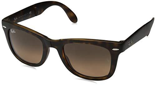 Ray-Ban RB4105 Wayfarer Folding Sunglasses, Matte Tortoise/Brown Gradient, 50 mm (Ray Bans Tortoise Wayfarers)