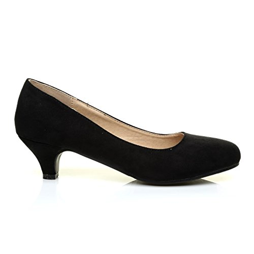 Charm Black Faux Suede Low Heel Round Toe Comfort Court Shoes