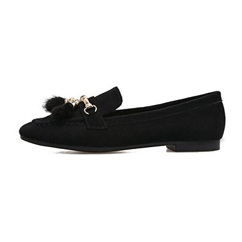 GIY Womens Casual Suede Square Toe Penny Loafers Flat Tassel Comfort Slip-On Classic Loafer Dress Shoes Black pyiBSH6pp
