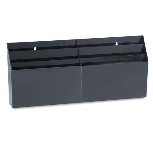 Rubbermaid 96060 Optimizerst six-pocket wall-mount or desk organizer, plastic, black (Rubbermaid Plastic File Folder)