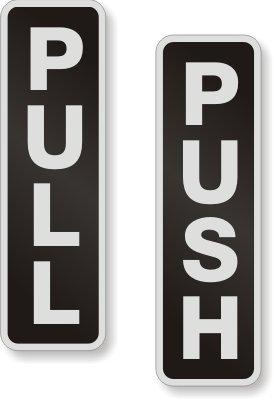 Pull/Push (Vertical), Set, Aluminum Sign, 2 Signs / Kit, 5