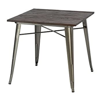 Amazoncom VIVA HOME Metal Dining Table with Elm Wood Top White