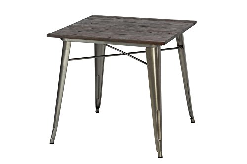 DHP Fusion Metal Square Dining Table with Wood Table Top, Distressed Metal Finish for Industrial Appeal, Antique Gun Metal