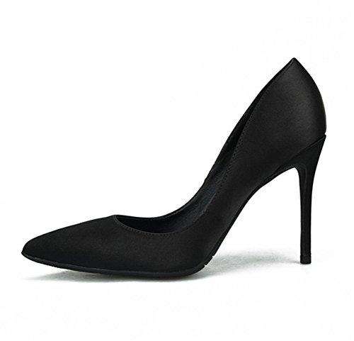 ZPL Women's Stiletto High Heel Pointed Toe Stiletto Satin Ladies Evening Party Wedding Court Shoes Black Cn70k