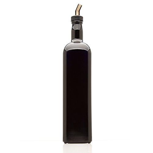 Herbal Aqua Shampoo - Infinity Jars 1 Liter (34 fl oz) Square Large Ultraviolet Glass Refillable Oil Bottle with Plastic Pour Spout
