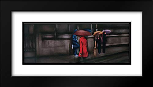 Down On The Street 40x16 Black Modern Frame and Double Matted Art Print by Visa, Xavier