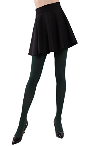 Pack Nylon Olive Drab - HeyUU Women's Semi Opaque Solid Color Soft Footed Pantyhose Tights 2 Pack Olive Drab