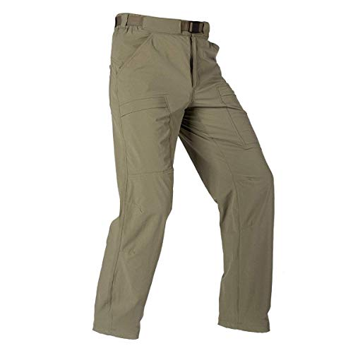 FREE SOLDIER Men's Outdoor Cargo Hiking Pants with Belt Lightweight Waterproof Quick Dry Tactical Pants Nylon Spandex