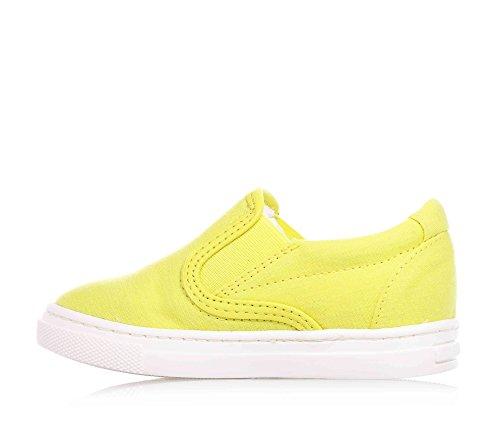 ARMANI - Chaussure jaune sans lacets, en tissu, inserts latérales élastiques, enfant (garçon ou fille)