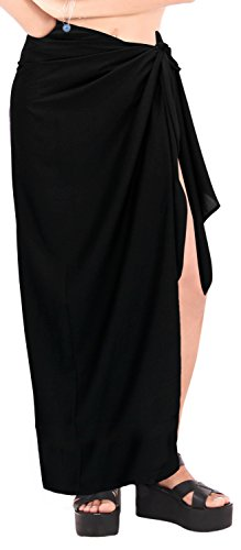 LA LEELA Rayon Scarf Deal Dress Bikini Wrap  Sarong Solid 78''X39'' Black_6711 by LA LEELA