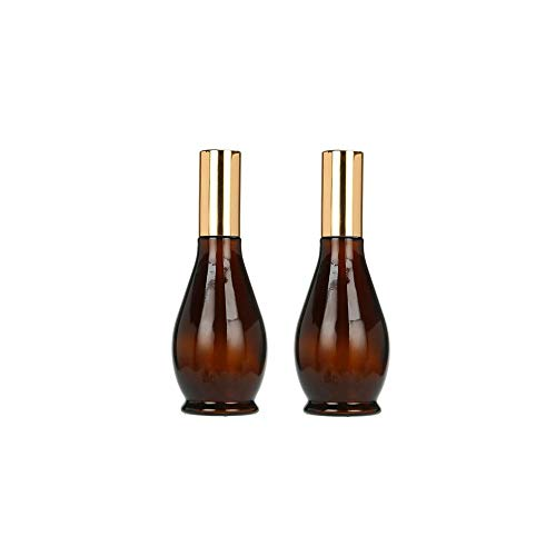 (2 Packs Cosmetic Lotion Bottles Brown Glass Spray Bottles, Empty Refillable Essential Oils Containers, Perfume Atomizer,Amber Gourd Bottles with Gold Fine Travel Mist Sprayers (30 ml))