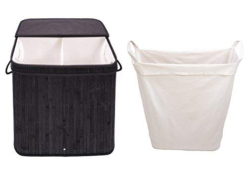 Adorn Home Essentials Rectangle Adorn Home Laundry Hamper with Attached Hinged Lid |Single and Double Cloth Handle on Basket and Liner | Collapsible | Black Bamboo