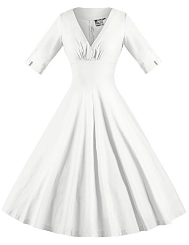 GownTown Womens Dresses V-neck 3/4 Sleeves 1950s Vintage Dresses Swing Stretchy Dresses