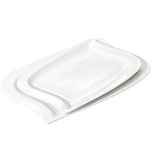 Malacasa, Series Elvira, 2-Piece Ivory White Porcelain Large Serving Platters of 11