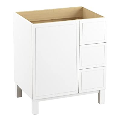 KOHLER K-99504-LGR-1WA Jacquard Vanity with Furniture Legs 1 Door and 3 Drawers on Right, 30-Inch, Linen White - Combines with Solid/Expressions(TM) and Ceramic/Impressions(TM) vanity tops (sold separately) for a complete vanity Frameless construction with full-overlay doors Three-way adjustable slow-close door hinges with 110-degree opening capability for easy cabinet access - bathroom-vanities, bathroom-fixtures-hardware, bathroom - 31cZ5cKnqsL. SS400  -