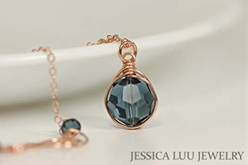 Rose Gold Dark Blue Necklace with Montana Swarovski Crystal Pendant Wire Wrapped Rose or Yellow Gold Filled