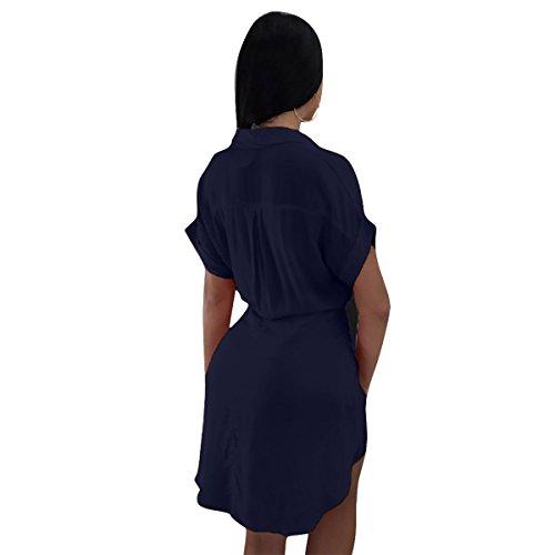 en Mujer Blue sin V para Deep Mangas para Solapa con Corta y de Mujer Cuello Manga Moda ZFFde y Vestido Vestido con Solapa wCFqB5xqZX
