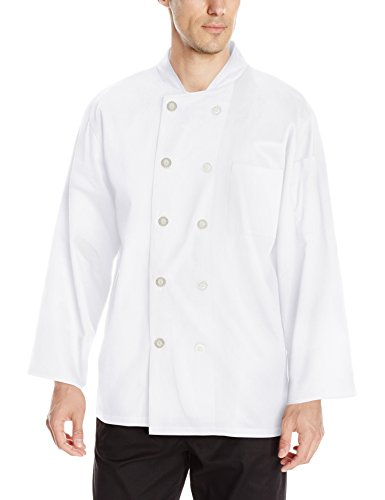 Chef Code Men's Classic Cotton Long Sleeve Coat, White Large